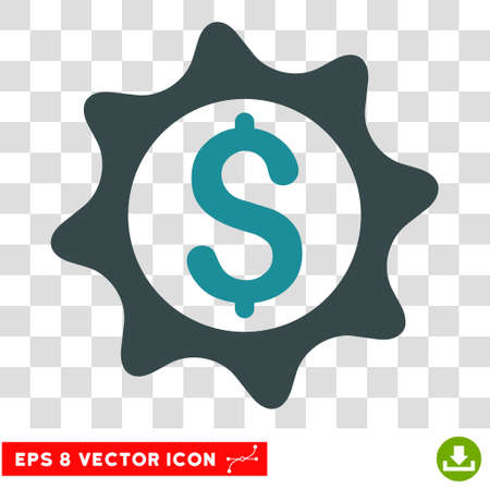 Money Seal vector icon. Image style is a flat soft blue pictograph symbol.