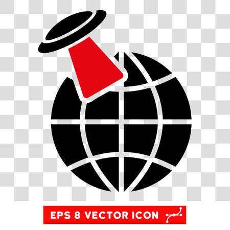 Vector Alien Visit EPS vector icon. Illustration style is flat iconic bicolor intensive red and black symbol on a transparent background. Illustration
