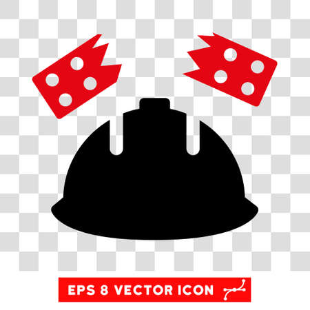 Vector Brick Helmet Accident EPS vector pictogram. Illustration style is flat iconic bicolor intensive red and black symbol on a transparent background.