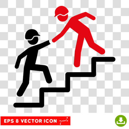 black pictogram: Vector Builder Business Help EPS vector pictogram. Illustration style is flat iconic bicolor intensive red and black symbol on a transparent background.