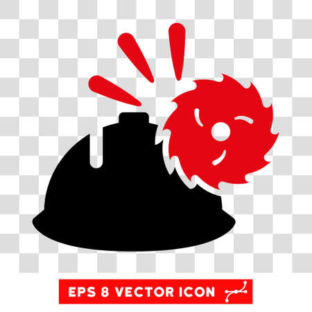 head protection: Vector Circular Blade Head Protection EPS vector icon. Illustration style is flat iconic bicolor intensive red and black symbol on a transparent background. Illustration