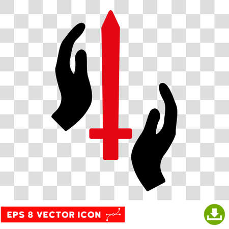 Vector Classic Guard Sword EPS vector pictograph. Illustration style is flat iconic bicolor intensive red and black symbol on a transparent background.