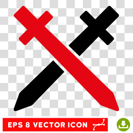 Vector Crossing Swords EPS vector pictogram. Illustration style is flat iconic bicolor intensive red and black symbol on a transparent background. Illustration