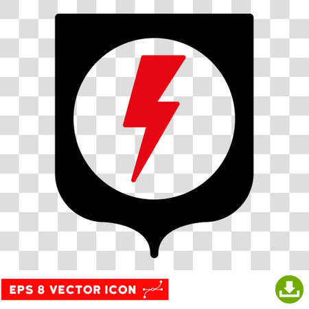 Vector Electric Protection EPS vector pictogram. Illustration style is flat iconic bicolor intensive red and black symbol on a transparent background.
