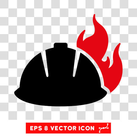 Vector Fire Helmet EPS vector icon. Illustration style is flat iconic bicolor intensive red and black symbol on a transparent background.