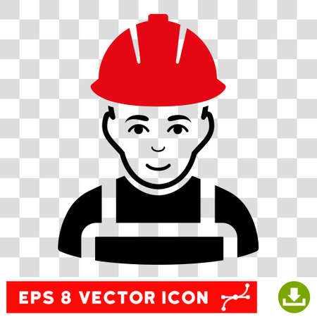 eps vector icon: Vector Glad Worker EPS vector icon. Illustration style is flat iconic bicolor intensive red and black symbol on a transparent background.