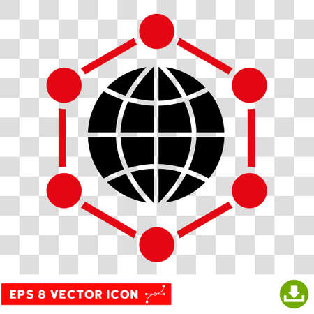 prison ball: Vector Global Frame EPS vector pictogram. Illustration style is flat iconic bicolor intensive red and black symbol on a transparent background. Illustration