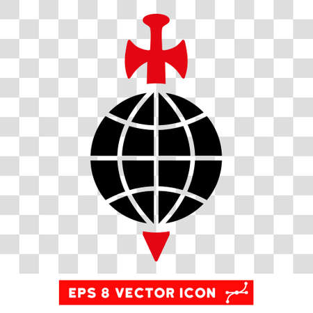 Vector Global Guard EPS vector pictograph. Illustration style is flat iconic bicolor intensive red and black symbol on a transparent background.