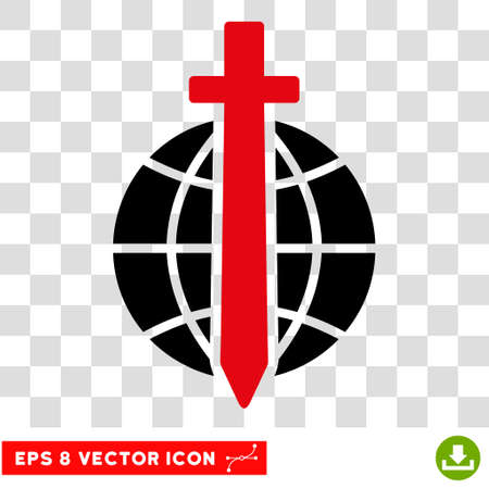 eps vector icon: Vector Global Guard EPS vector icon. Illustration style is flat iconic bicolor intensive red and black symbol on a transparent background.