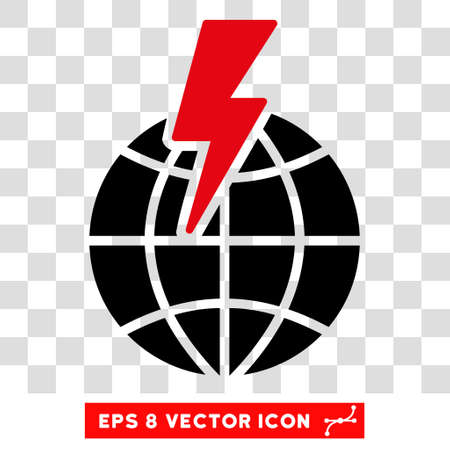 Vector Global Shock EPS vector pictogram. Illustration style is flat iconic bicolor intensive red and black symbol on a transparent background.