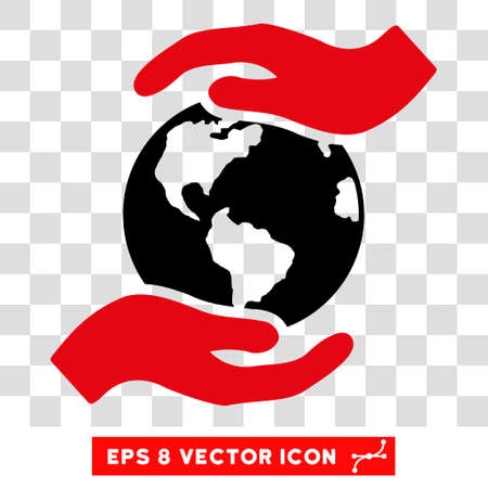 Vector International Care Hands EPS vector icon. Illustration style is flat iconic bicolor intensive red and black symbol on a transparent background. Illustration