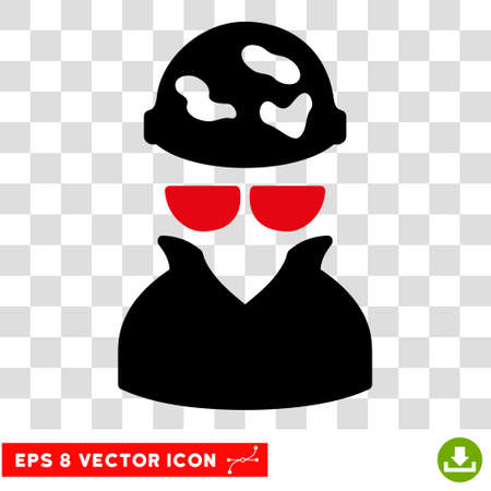 Vector Spotted Spy EPS vector pictograph. Illustration style is flat iconic bicolor intensive red and black symbol on a transparent background.