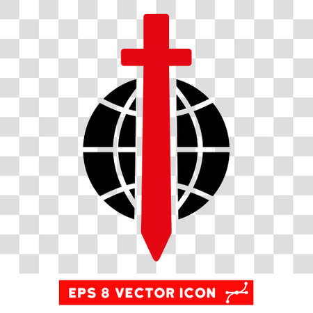 tyranny: Vector Sword Globe EPS vector icon. Illustration style is flat iconic bicolor intensive red and black symbol on a transparent background.