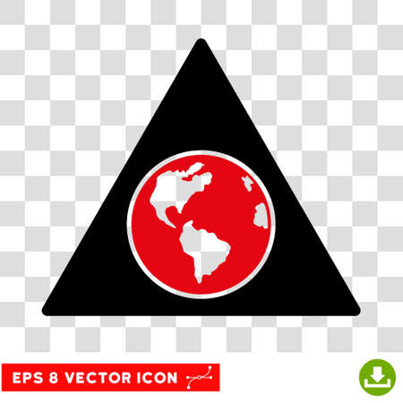 terra: Vector Terra Triangle EPS vector pictograph. Illustration style is flat iconic bicolor intensive red and black symbol on a transparent background.