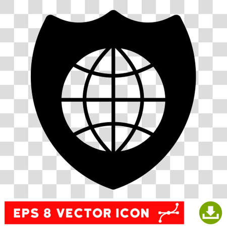 honour guard: Vector Global Shield EPS vector icon. Illustration style is flat iconic black symbol on a transparent background.