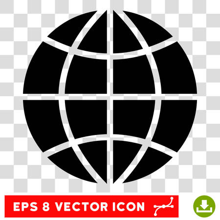 internet background: Vector Planet Globe EPS vector pictograph. Illustration style is flat iconic black symbol on a transparent background.