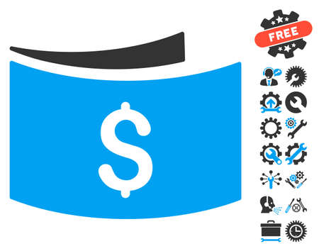 banknotes: Banknotes pictograph with bonus tools pictograph collection. Glyph illustration style is flat iconic bicolor symbols, blue and gray colors, white background. Stock Photo