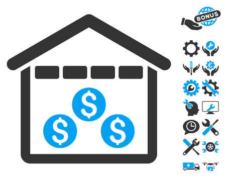 depository: Money Depository icon with bonus tools images. Glyph illustration style is flat iconic bicolor symbols, blue and gray colors, white background.