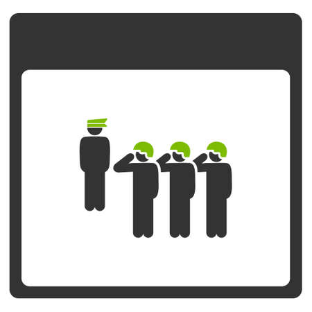 squad: Army Squad Calendar Page glyph pictogram. Style is flat graphic bicolor symbol, eco green and gray colors, white background.