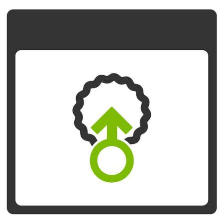 penetración: La penetración celular página de calendario de glifo pictograma. El estilo es el símbolo plano bicolor gráfico, eco colores verde y gris, fondo blanco.