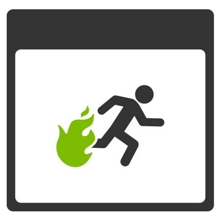 evacuacion: Fire Evacuation Man Calendar Page glyph pictogram. Style is flat graphic bicolor symbol, eco green and gray colors, white background.