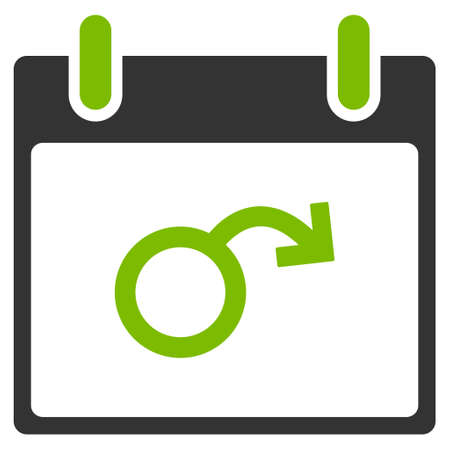 impotent: Impotence Calendar Day glyph icon. Style is flat graphic bicolor symbol, eco green and gray colors, white background.