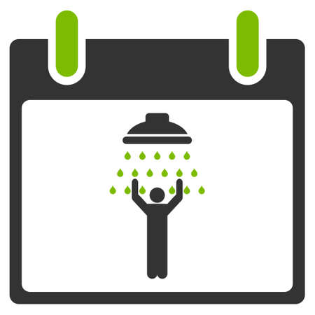 man shower: Man Shower Calendar Day glyph icon. Style is flat graphic bicolor symbol, eco green and gray colors, white background.