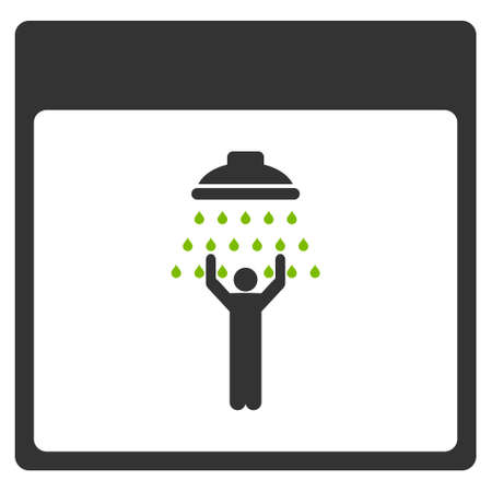 man shower: Man Shower Calendar Page glyph icon. Style is flat graphic bicolor symbol, eco green and gray colors, white background.