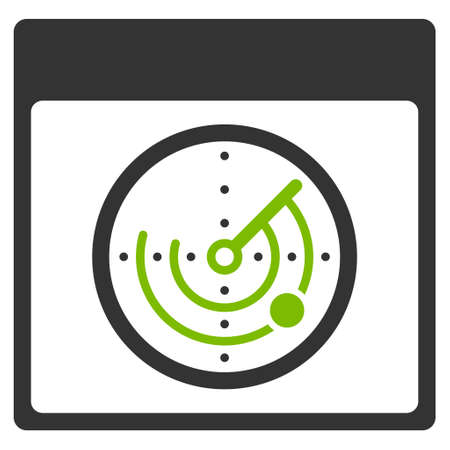 Radar Calendar Page glyph pictogram. Style is flat graphic bicolor symbol, eco green and gray colors, white background.