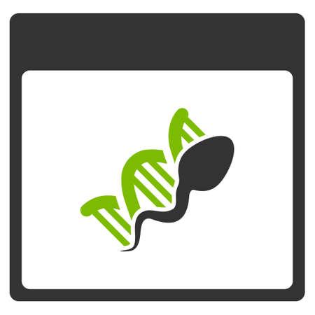 replication: Sperm DNA Replication Calendar Page glyph pictograph. Style is flat graphic bicolor symbol, eco green and gray colors, white background. Stock Photo