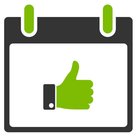 Thumb Up Hand Calendar Day glyph pictogram. Style is flat graphic bicolor symbol, eco green and gray colors, white background.