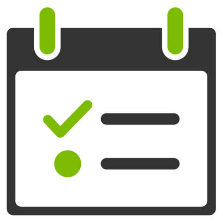 nomenclature: Todo List Calendar Day glyph pictograph. Style is flat graphic bicolor symbol, eco green and gray colors, white background.
