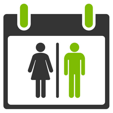 water closet: Water Closet Calendar Day glyph pictogram. Style is flat graphic bicolor symbol, eco green and gray colors, white background.