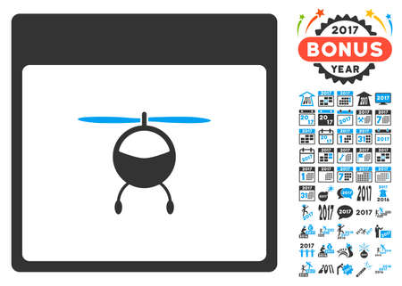 syllabus: Helicopter Calendar Page icon with bonus calendar and time management design elements. Glyph illustration style is flat iconic symbols, blue and gray colors, white background.