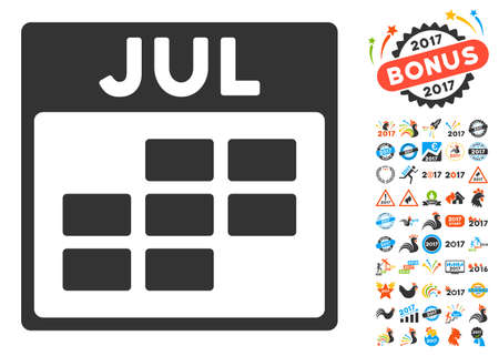 calendario julio: July Calendar Grid pictograph with bonus calendar and time management pictograph collection. Glyph illustration style is flat iconic symbols, blue and gray colors, white background.