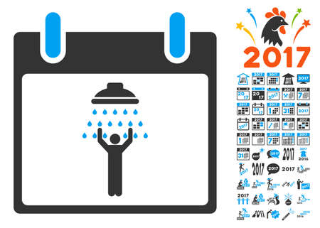 man shower: Man Shower Calendar Day icon with bonus calendar and time management graphic icons. Glyph illustration style is flat iconic symbols, blue and gray colors, white background.