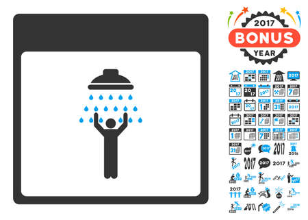 man shower: Man Shower Calendar Page icon with bonus calendar and time management pictograph collection. Glyph illustration style is flat iconic symbols, blue and gray colors, white background.