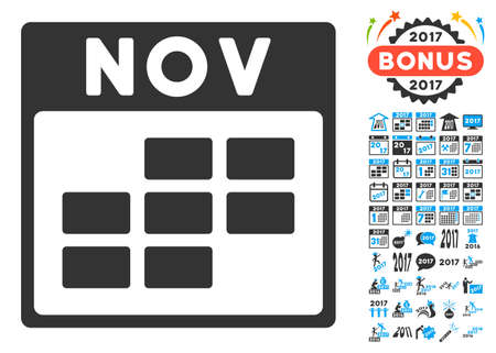 november calendar: November Calendar Grid pictograph with bonus calendar and time management images. Glyph illustration style is flat iconic symbols, blue and gray colors, white background.
