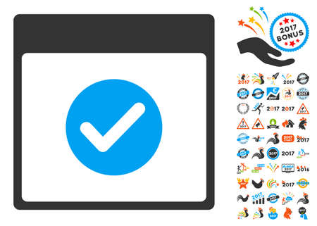 date validate: Ok Calendar Day pictograph with bonus calendar and time management icon set. Glyph illustration style is flat iconic symbols, blue and gray colors, white background.