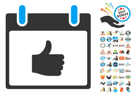 Thumb Up Calendar Day pictograph with bonus calendar and time management design elements. Glyph illustration style is flat iconic symbols, blue and gray colors, white background. Stock Photo