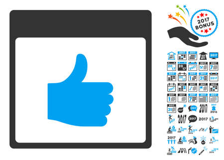 Thumb Up Calendar Page icon with bonus calendar and time management symbols. Glyph illustration style is flat iconic symbols, blue and gray colors, white background.