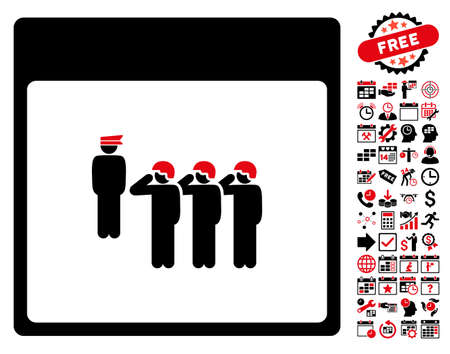 squad: Army Squad Calendar Page icon with bonus calendar and time management images. Glyph illustration style is flat iconic symbols, intensive red and black, white background. Stock Photo