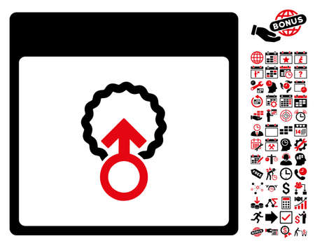 Cell Penetration Calendar Page icon with bonus calendar and time management graphic icons. Glyph illustration style is flat iconic symbols, intensive red and black, white background. Stock Photo