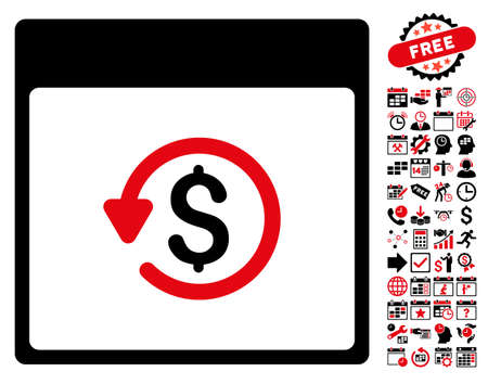 Chargeback Calendar Page pictograph with bonus calendar and time management pictograph collection. Glyph illustration style is flat iconic symbols, intensive red and black, white background.