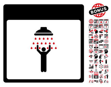 man shower: Man Shower Calendar Page pictograph with bonus calendar and time management design elements. Glyph illustration style is flat iconic symbols, intensive red and black, white background. Stock Photo