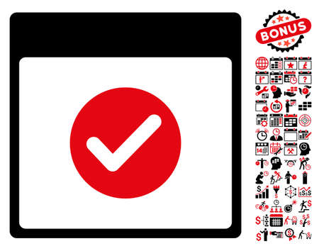 date validate: Ok Calendar Day pictograph with bonus calendar and time management pictures. Glyph illustration style is flat iconic symbols, intensive red and black, white background. Stock Photo