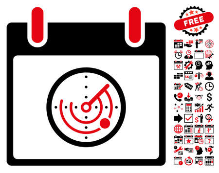 localization: Radar Calendar Day pictograph with bonus calendar and time management pictures. Glyph illustration style is flat iconic symbols, intensive red and black, white background.