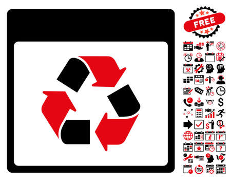 Recycle Calendar Page pictograph with bonus calendar and time management icon set. Glyph illustration style is flat iconic symbols, intensive red and black, white background. Stock Photo