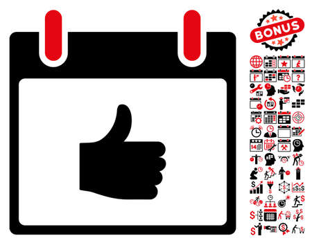 Thumb Up Calendar Day pictograph with bonus calendar and time management graphic icons. Glyph illustration style is flat iconic symbols, intensive red and black, white background.