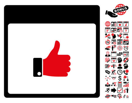 date validate: Thumb Up Hand Calendar Page pictograph with bonus calendar and time management pictograms. Glyph illustration style is flat iconic symbols, intensive red and black, white background.